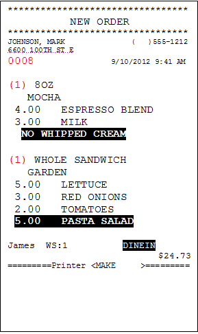 An example of the make ticket a barista or cook would see.