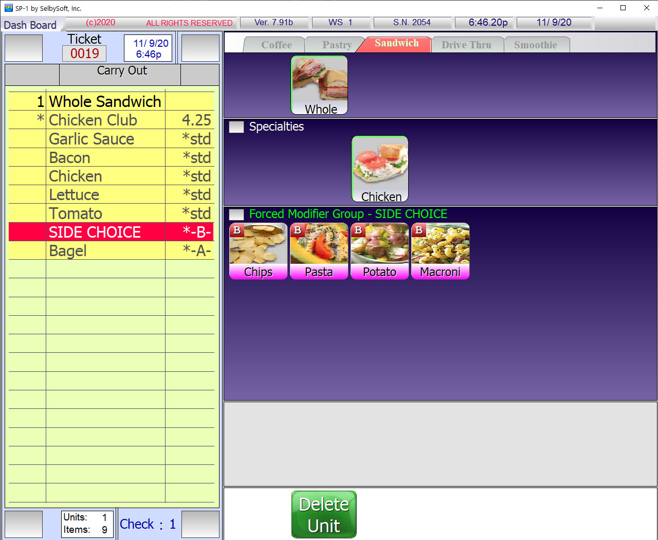 Menu Group in SelbySoft POS
