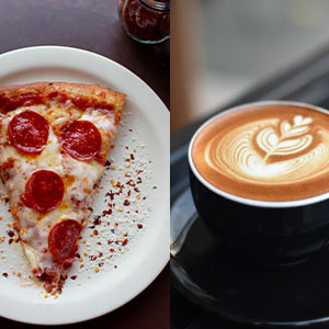 Images of a slice of pizza and cup of coffee