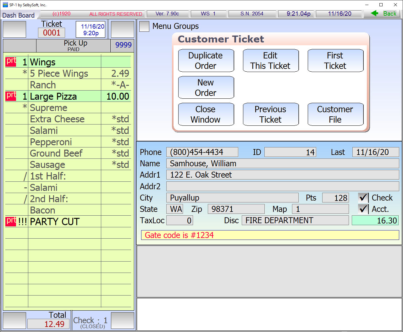 Customer file in SelbySoft pos