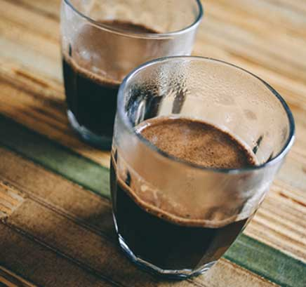 A picture of two shots of espresso