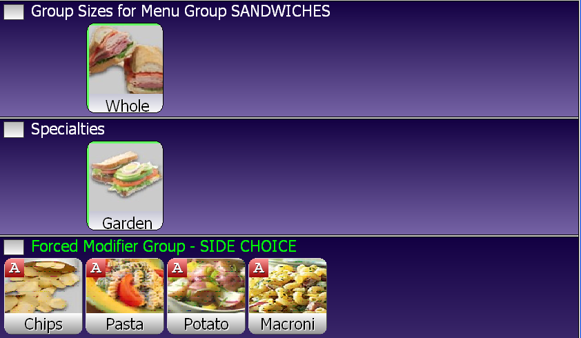 SelbySoft Forced Modifiers Sandwiches