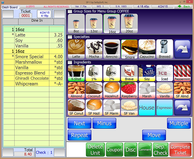 Coffee shop pos system selbysoft inc for Coffee shop design software