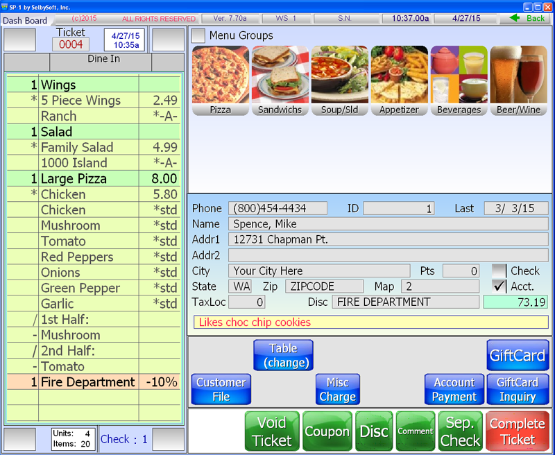 Pizza Restaurant Pos Software Selbysoft Inc